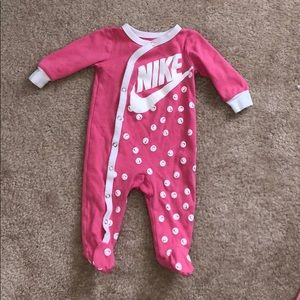 Pink nike long sleeve one piece with footies